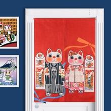Novelty Japanese Lucky Cat Fuji Mount Noren Curtain Japanese Carp Fish Flag Japan Painting Kitchen Teahouse