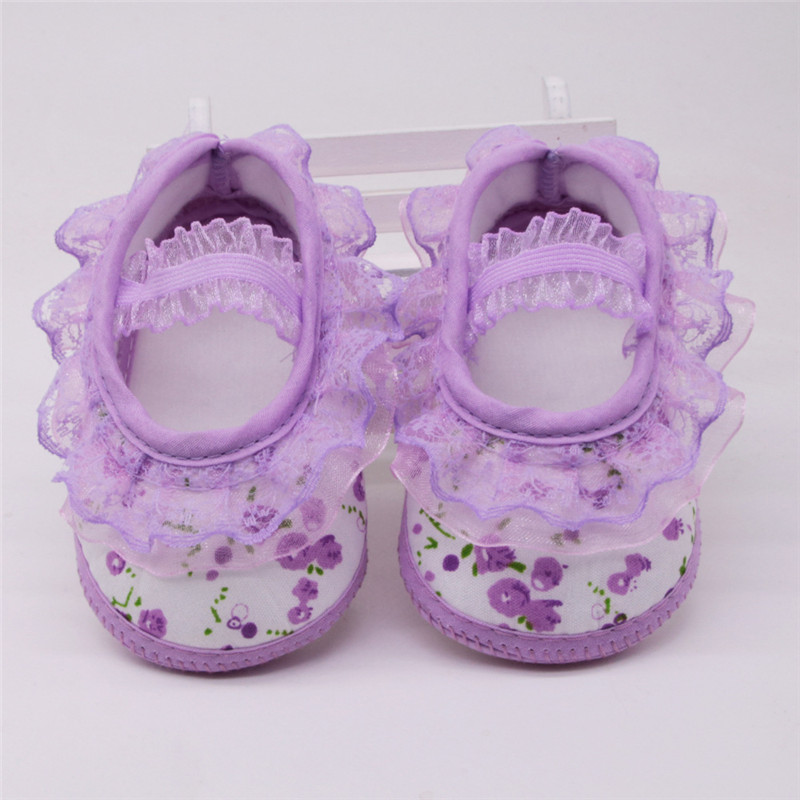 Infant Toddler Baby Girl Princess Crib Shoes Soft Sole Prewalker Newborn to 12 M