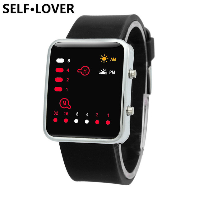 SELFLOVER Brand 2017 Men Women Watches Sports Wristwatches Digital Red LED Outdo