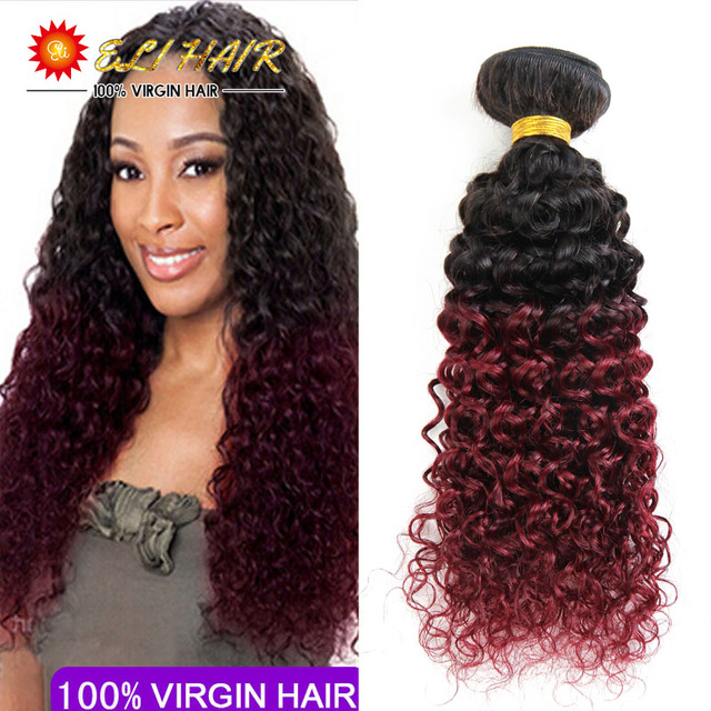 Brazilian Ombre Curly Hair 1b99j Dark Root Burgundy End 2 Tone