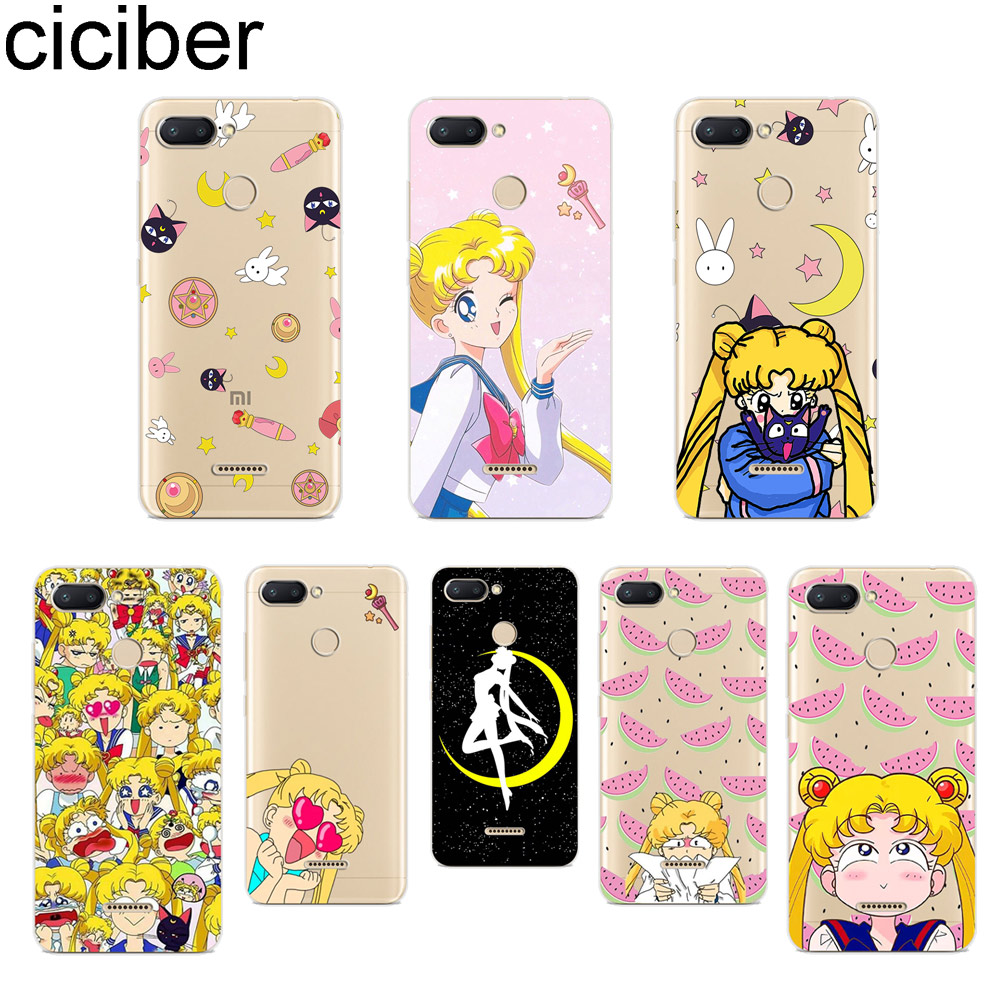 ciciber for Xiaomi Red 6 5 4 3 A X S Pro Plus S2 Soft TPU Back Phone Case for redmi Note 7 8 6 5 4 3 X A Pro Cover Sailor Moon image