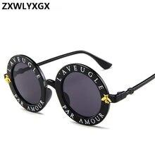 c2073df77043b8 ZXWLYXGX 2018 nieuwe zonnebril kleine bijen ronde frame zonnebril mannen en vrouwen  mode bril trend zonnebril UV400