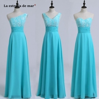 Vestido boda mujer invitada new lace chiffon 3 style A Line turquoise bridesmaid dress Floor Length wedding party gown