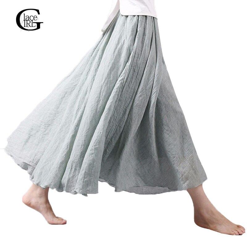0af100447862 Lace Girl Fashion Women Linen Cotton Long Skirts Autumn Women Pleated Maxi  Skirts Retro Ladies Slim Elastic Waist Casual Skirt