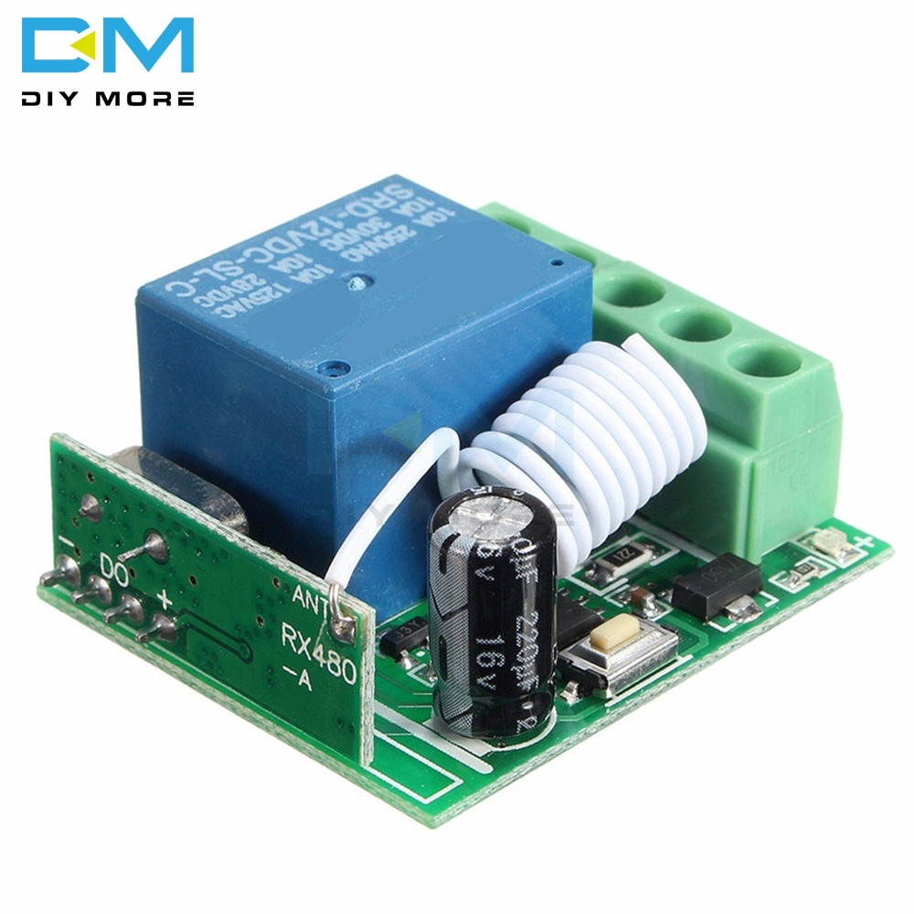 DC 12V 1CH 1 Ch Channel 433MHz Wireless Relay Remote Module RF Control Board Switch Heterodyne Receiver Electronic Controller