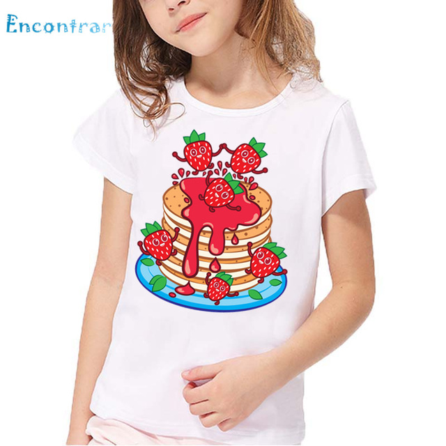 Kids The Strawberry Cake Print Funny T Shirt Baby Good Food Design