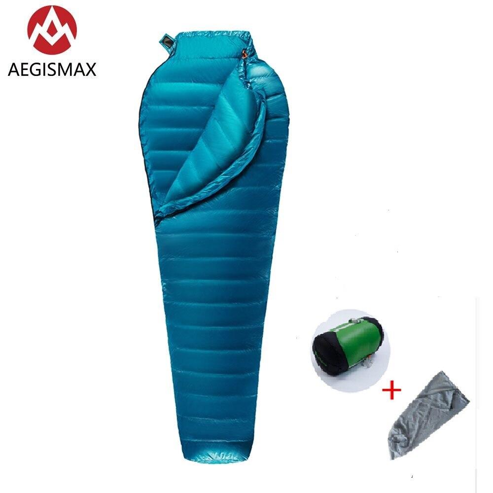 Aegismax 초경량 성인 미라 95% 화이트 거위 슬리핑 백 야외 캠핑 하이킹 3 시즌 부드러운 니스 및 바디 친화적 인
