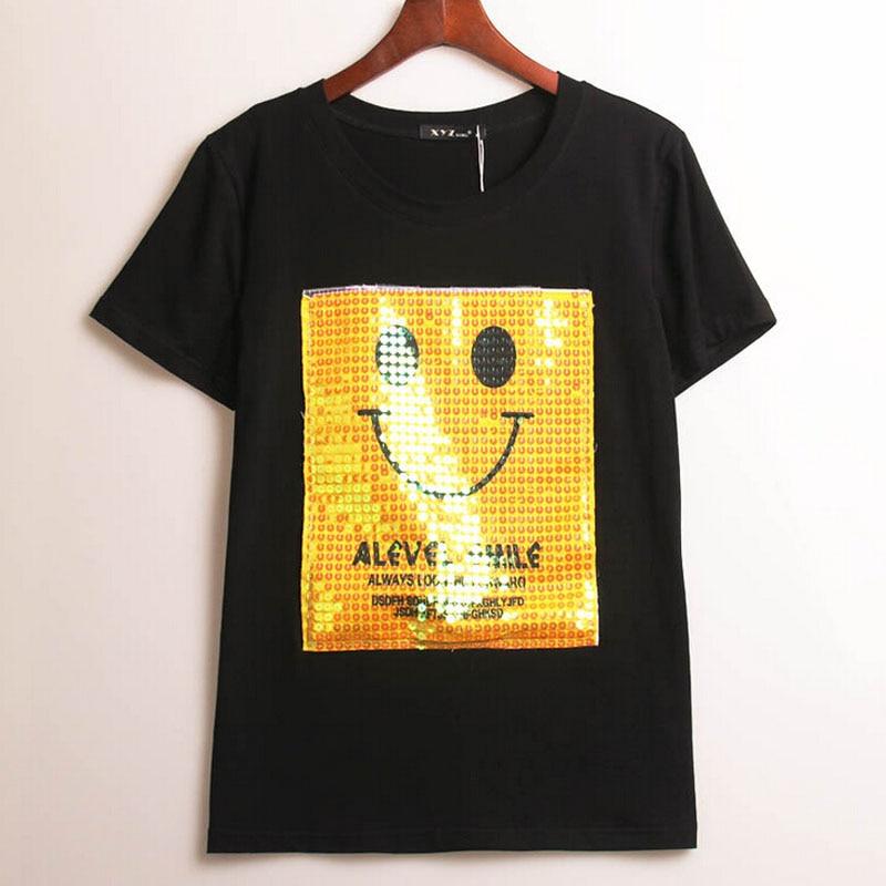 2016 summer designer brand kawaii t shirt funny women yellow smile. Black Bedroom Furniture Sets. Home Design Ideas