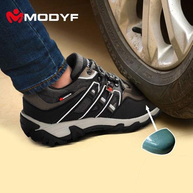 Modyf Мужские стальным носком рабочие ботинки безопасности отражающей повседневная дышащий открытый туризм сапоги прокол доказательство защиты, обувь