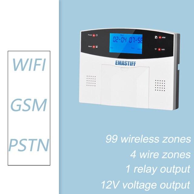 LCD Keypad WIFI GSM PSTN Home Burglar Security Wireless Wire Alarm System  2
