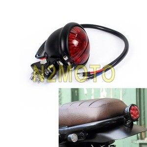 Czarny motocykl LED Bates styl tylne światła tylny hamulec czerwone światło przydymione soczewki tylne lampy Stop dla rocznika niestandardowe Scrambler Racer
