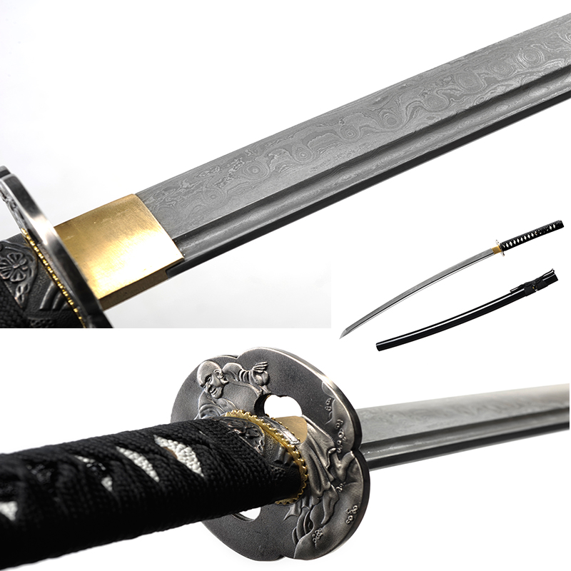 Japonské samurajské meče ručně vyráběné katany Tvrdý ostrý nůž černý