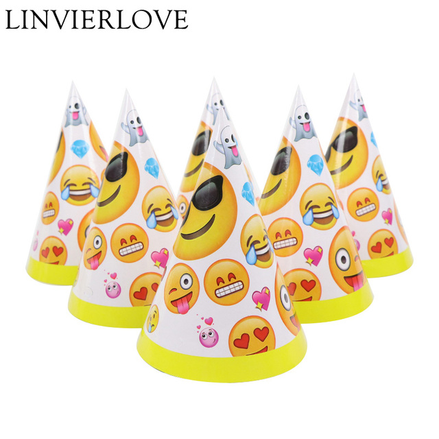 6pcs Set Cartoon Emoji Theme Paper Party Hats Caps For Kids Boys Girls Happy Birthday Baby Shower Decoration Supplies