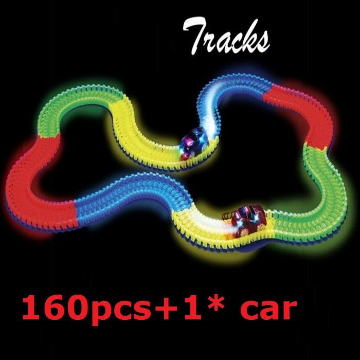 4 Colors DIY Racing Tracks* 160pcs That Bend,Flex&Glow With LED B/O Toys Car Set* 1pc Puzzle Educational Toys Gift