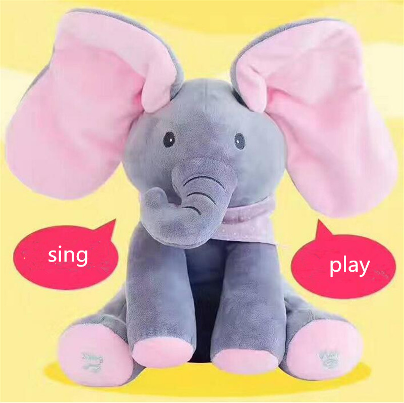 Toys For Children Sing And Play Toy Elephant Kids Toy English Music Education Stuffed Animals 30x30cm Plush Talking Doll leadingstar peek a boo elephant play hide and seek lovely cartoon stuffed elephant kids birthday gift 30cm music elephant zk35