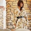 Mulheres de pele de coelho Real casaco de pele de coelho moda inverno quente EMS frete grátis TP68827