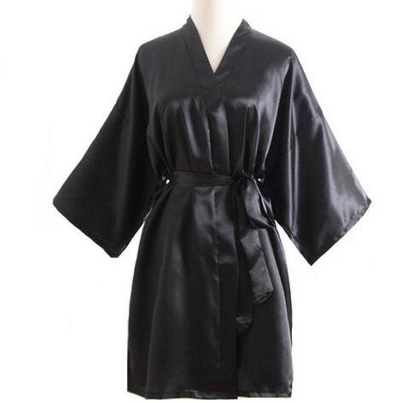 Black Sexy Brides Wedding Short Robe Dress Hot Sale Womens Satin Nightgown Solid Color Kimono Bath Gown Sleepwear