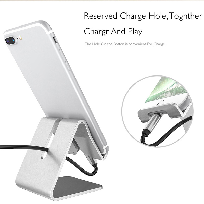 Newly Aluminum Alloy Phone Holder Stand Desk Charger Dock Station Bracket For Smartphone Mobile Phone Holders & Stands