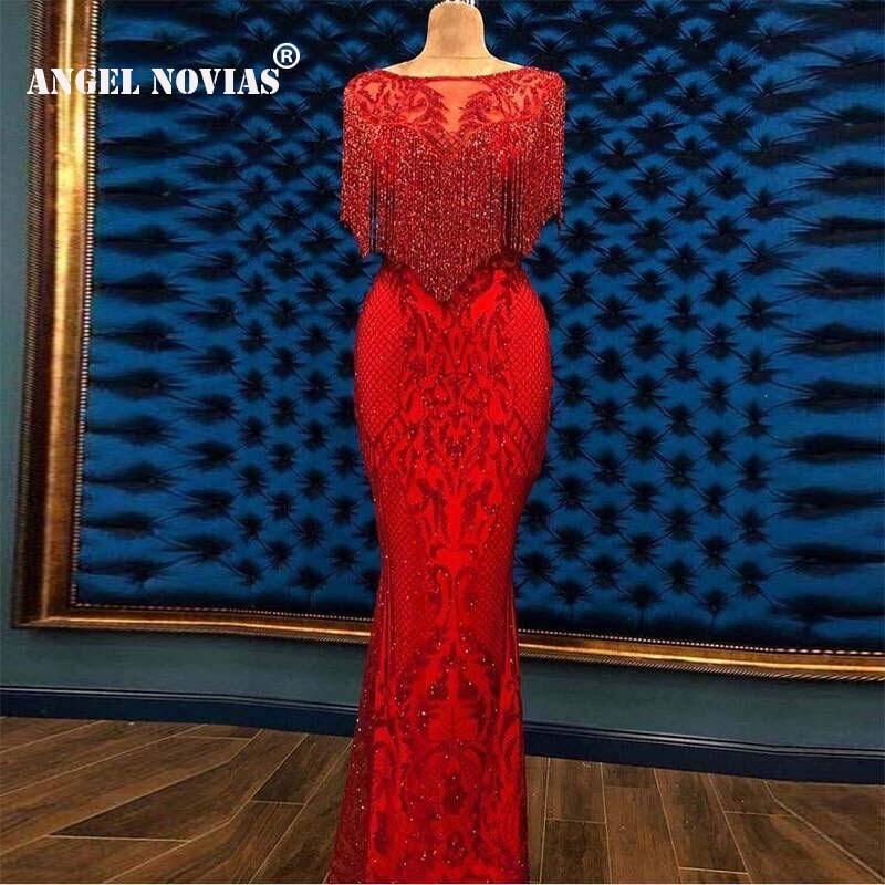 Angel Novias Long Mermaid Red Embroidery Lace Arabic Abendkleider   Evening     Dress   2019 with Crystals Tassels Vestidos De Noche