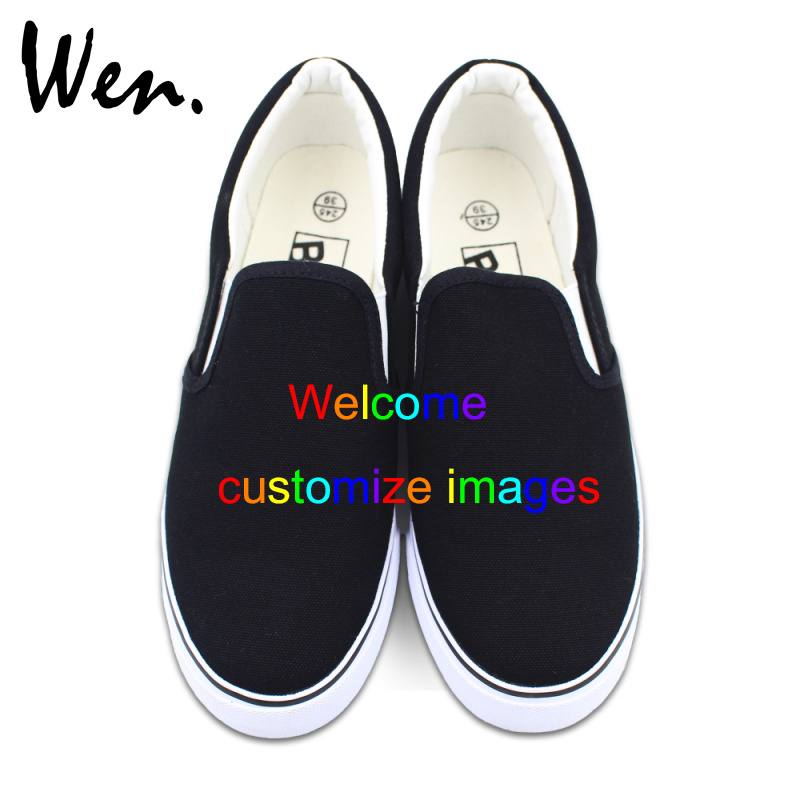 Wen Customize Black Slip On Hand Painted Canvas Shoes Offer Pictures You Like to Design Accept Bargain According to Complexity