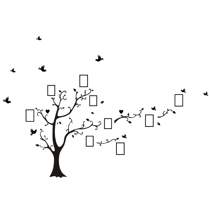 Large size 200*260cm colorful DIY photo vinyl tree family wall decal for living room-Free Shipping