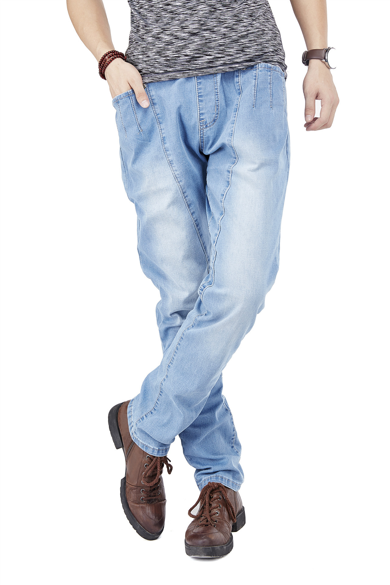 ФОТО 2016 Large Size Jeans Men Light Blue Brand Mens Jeans Slim Straight Stretch Pants Denim Trousers Size 30-46 Jeans For Men