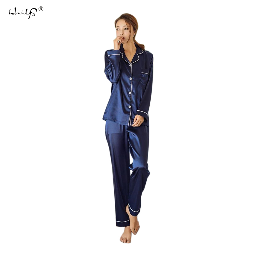 Delle donne In Raso di Seta Pigiami Pigiami Set Lungo Manicotto Degli Indumenti Da Notte Pijama Pigiama Vestito di Sonno Femminile A Due Pezzi Set Pigiama Più Il Formato