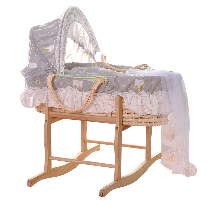 Natural Straw Hand Knitting Baby Portable Bed Crib Breathable Outdoor Travel Cars Baby Cradle Bed Protector For Kids