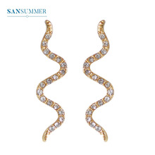 Sansummer New Hot Fashion Golden Curve Zircon Personality Exaggerated Shiny Punk Exquisite Earrings For Women Jewelry