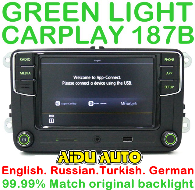 German Russian Turkish Language Green Backlight 187B RCD330 Plus CarPlay  Radio For Skoda Octavia A5 Fabia