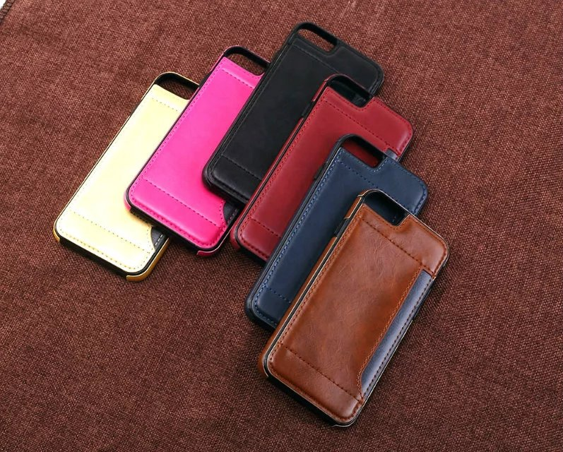 luxury phone case For the iPhone 6 6 s plus luxury man-made leather case for iPhone7 7 plus TPU card position on the back cover ...