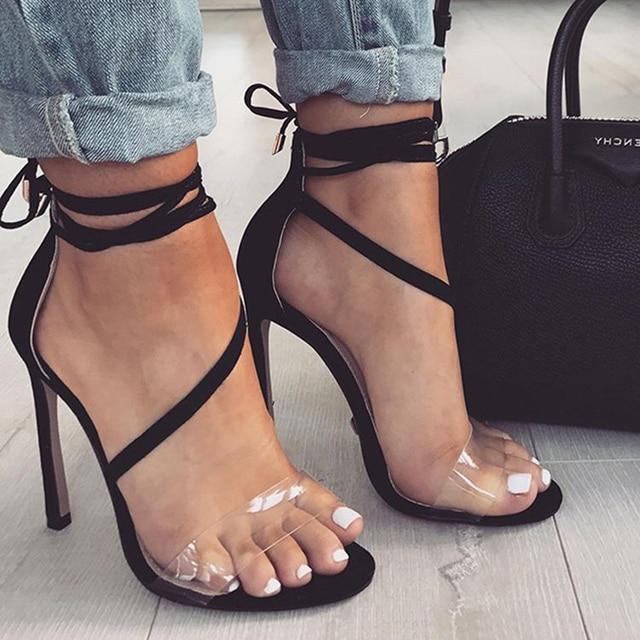 2018 Latest Mature Summer Sandals Women, Black Suede Sexy Clear Straps 11 Cm Stiletto -9295