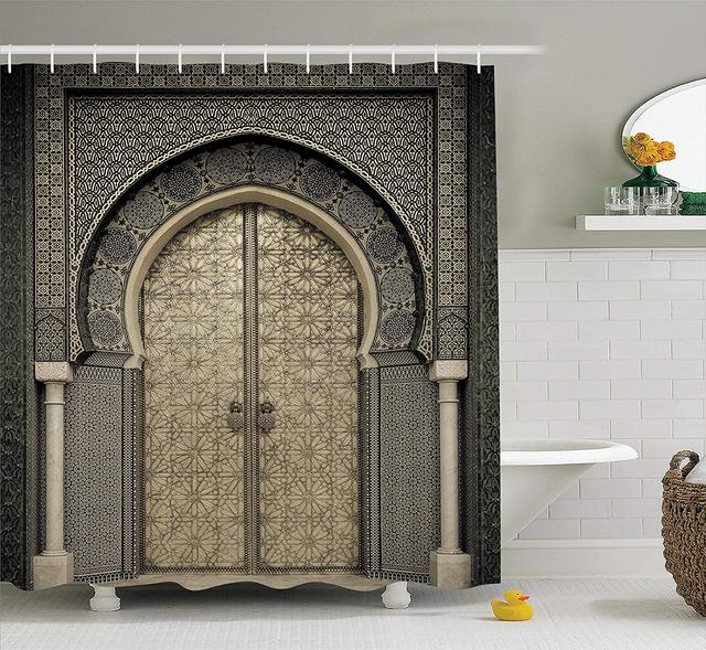 Moroccan Decor Shower Curtain Aged Gate Geometric Pattern Doorway Design Entrance Oriental Style Bathroom Accessories