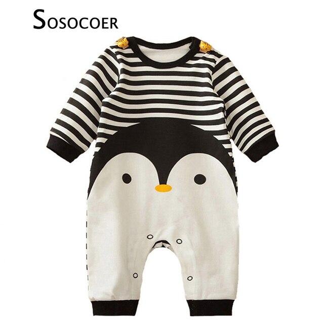 US $17.43 |SOSOCOER Jungen Strampler Langarm Cartoon Tier Pinguin Jungen Overall spielanzug Gestreiften Mädchen Ein Stück Für Kinder Kleidung in