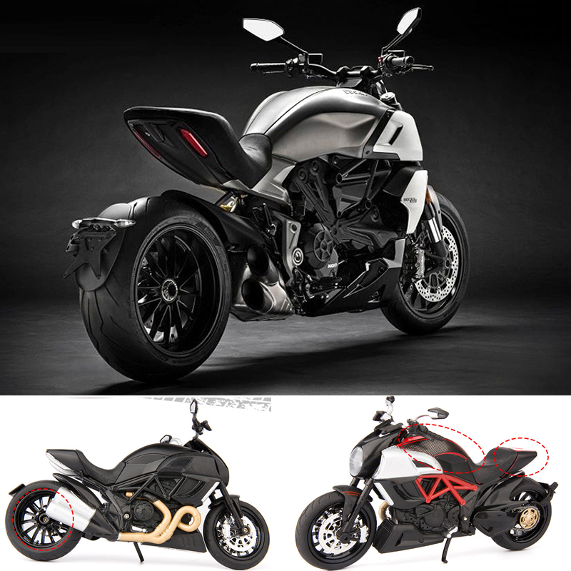 Hot scale 1:12 wheel metal <font><b>model</b></font> italy Ducati diavel diecast <font><b>motorcycle</b></font> pull back alloy toys with light and sound collection image