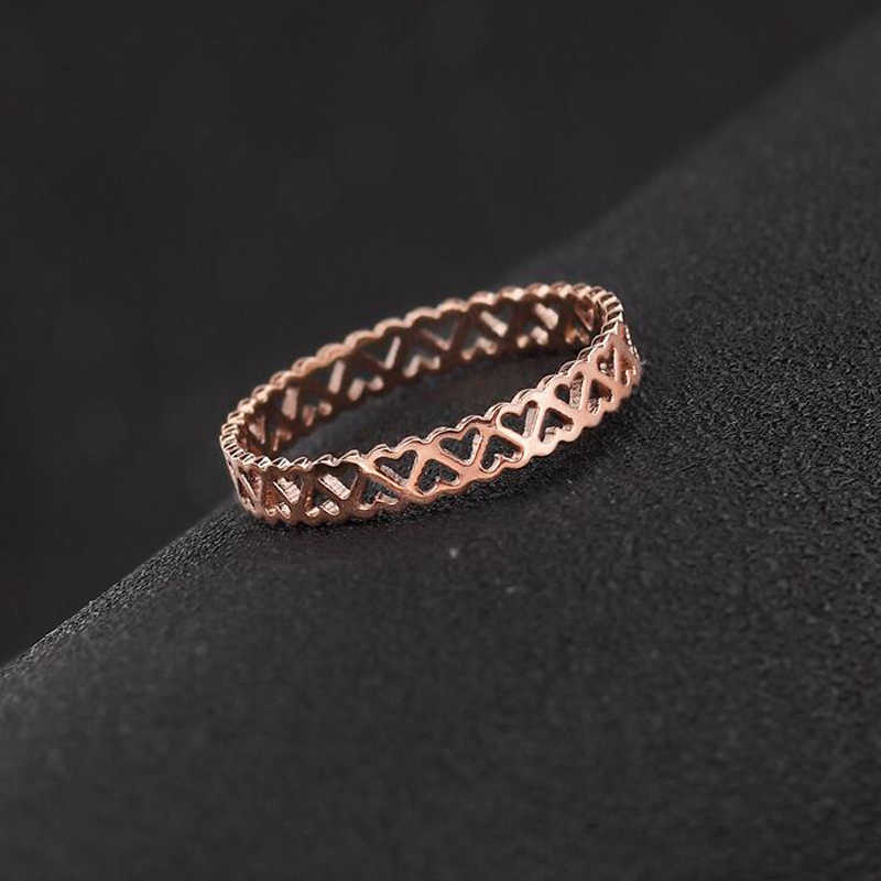 FYSARA Classic Fashion Hollow Heart Rings For Women Lady Party Jewelry High Polish Stainless Steel Rose Gold Color Finger Rings