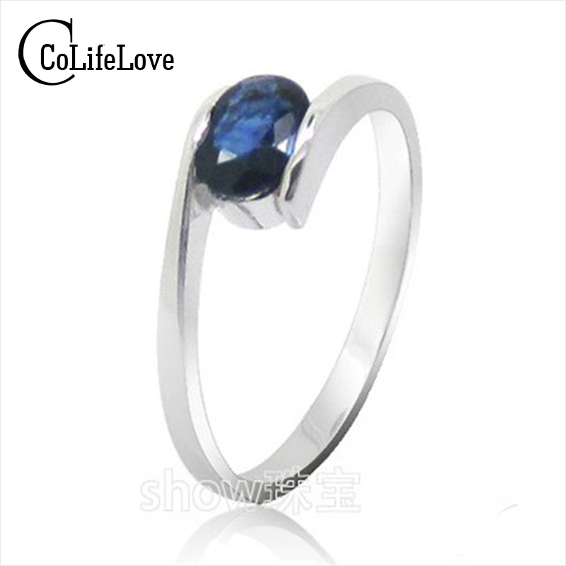 Hot sale fashion design silver sapphire rings for women solid 925 silver sapphire ring 0 5