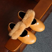 Winter New Children S Shoes Korean Version Of Granny Shoes Fashion Pearl Rabbit Fur Children S