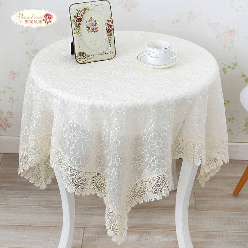 Proud Rose Pastoral Double Deck Glass Yarn Lace Tablecloth Translucent  Embroidered Round Table Cloth Home