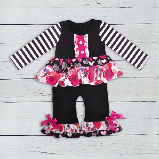 5d8d1e88d2a Wholesale New Design Summer Newborn Striped Hot Pink Bow Baby Girl Rompers  Toddler Kids Summer Boutique Clothes