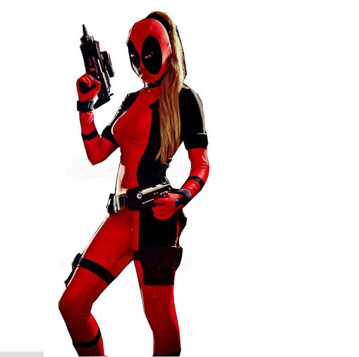 Cool Lady Deadpool Costume Red full body spandex girl/women/man boy girl Deadpool Costumes Two style deadpool costume