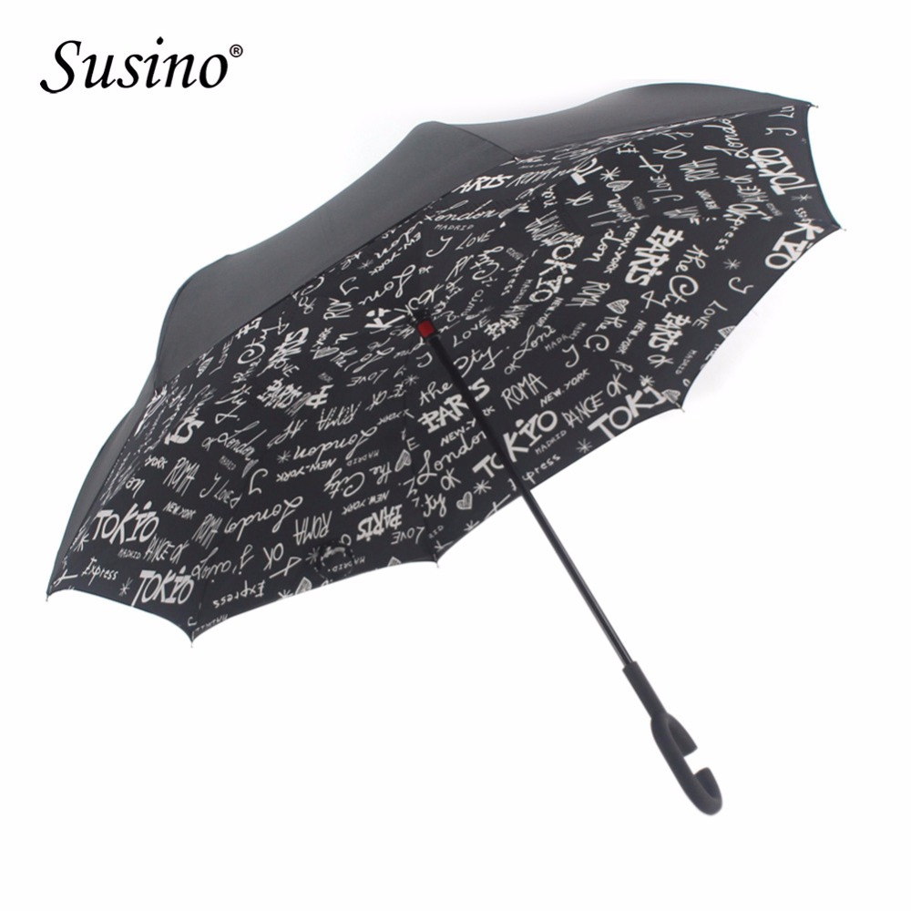 Double Layer Inverted Inverted Umbrella Is Light And Sturdy Scarf Design Printing Eagle Flying Tattoo Traditional Reverse Umbrella And Windproof Umbr