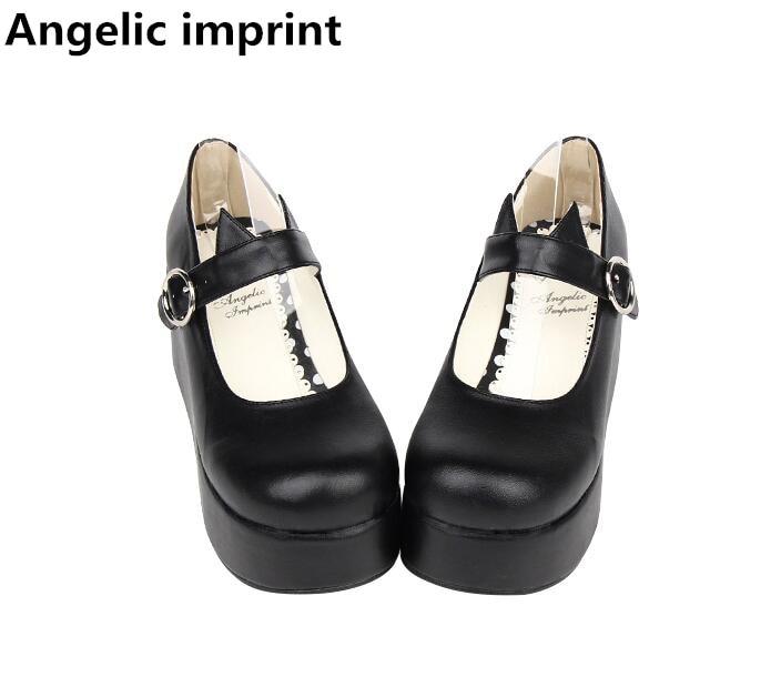 Ayakk.'ten Kadın Pompaları'de Melek baskı kadın mori kız lolita cosplay ayakkabı bayan yüksek takozlar topuklu kadın pompaları prenses elbise ayakkabı kedi kulaklar 33  47 7 cm'da  Grup 1
