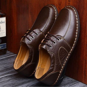 Genuine Leather Hand Sewing Men's Oxfords Flats