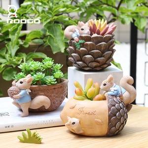 Image 5 - Roogo Muttern Haus Blumentopf Harz Töpfe Für Blumen Kleine Sukkulenten Pflanzer Nette Tier Bonsai Topf Für Home Garten Dekoration