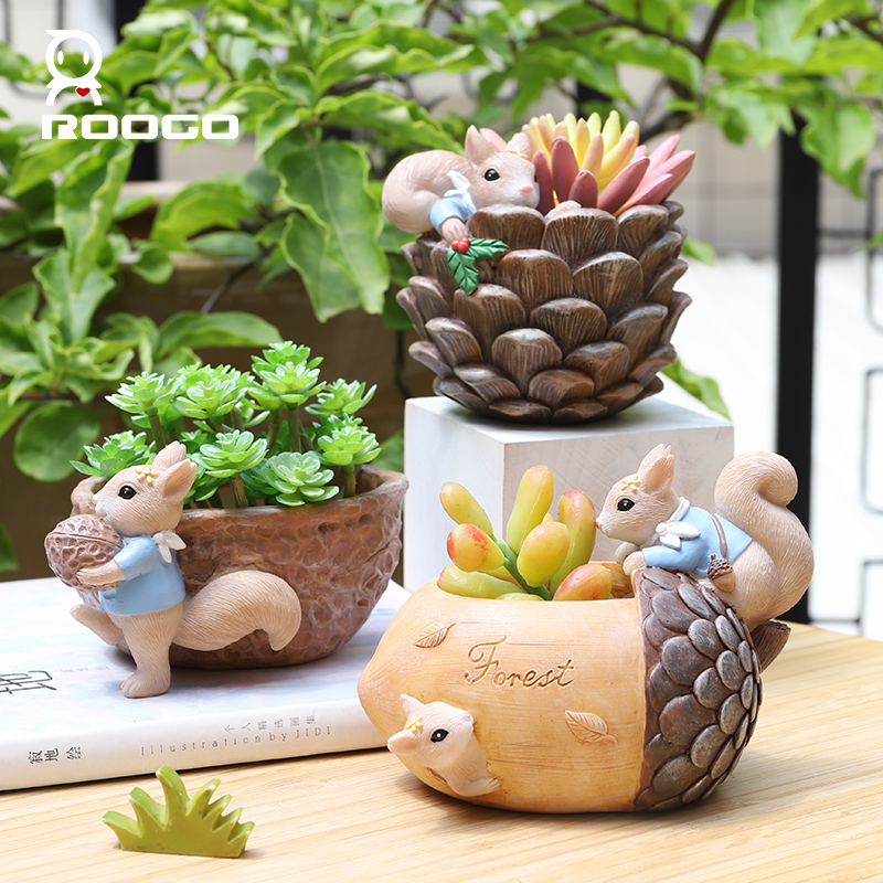 Image 5 - Roogo Nuts House Plant Pot Resin Pots For Flowers Small Succulents Planter Cute Animal Bonsai Pot For Home Garden Decoration-in Flower Pots & Planters from Home & Garden