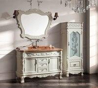 Массив дерева антикварная шкафчиком с раковиной и столешницей и шкаф зеркала и классические тщеславия мебель для ванной комнаты