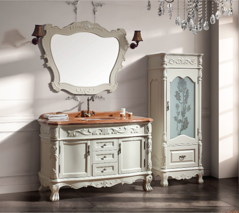 Solid Wood Antique Bathroom Cabinet  With Sink And Counter Top And Mirror Cabinet And Classic Bathroom Vanity Bathroom Furniture