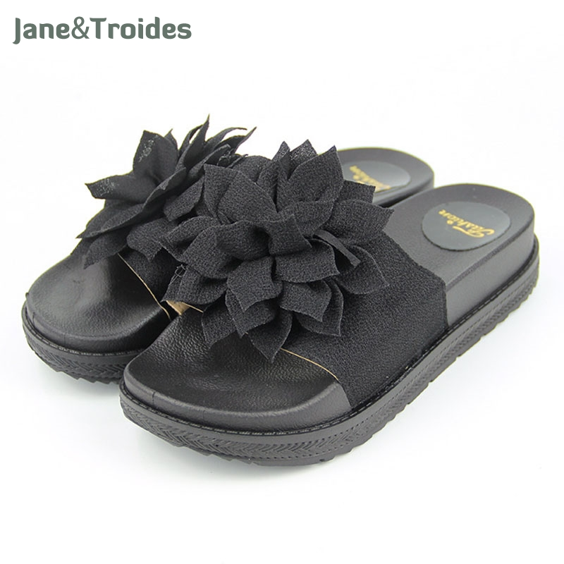 2018 Flower Slides Casual Beach Slippers Platform Shoes Woman Slip On Outside Flats Creepers Women Shoes yeerfa 2017 wedges sandals beach flowers flip flops slip on flats platform shoes woman casual creepers pearl slippers size 35 41
