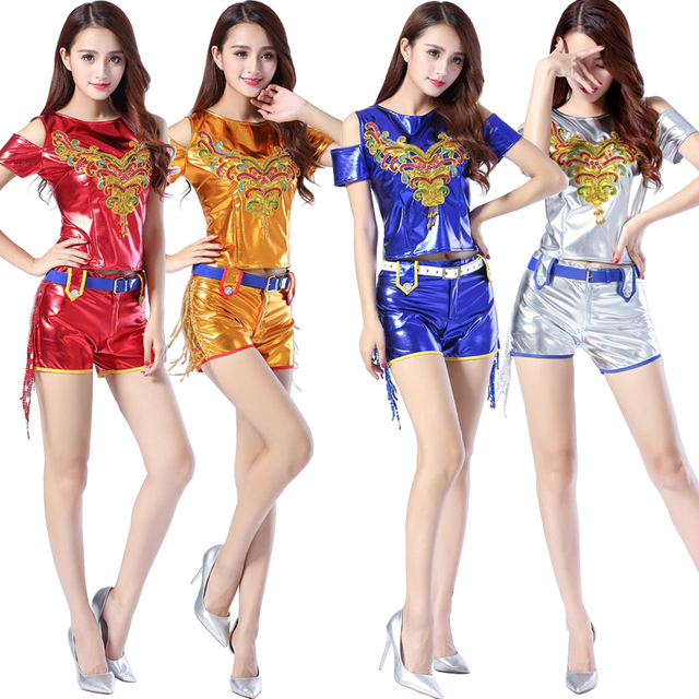 14b435b12bb0 Golden Modern Jazz dancing costumes Female Girls Sequined Hip Hop ...
